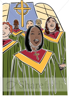 Choir Singers In Green Robes   Church Choir Clipart