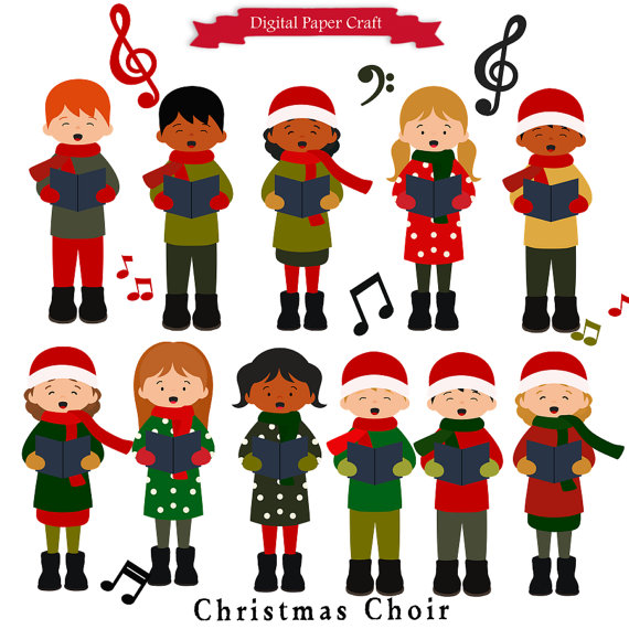 Lighted 8 Song Musical Holiday Christmas Carolers Choir: Christmas Singers Clipart