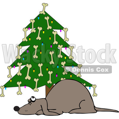 Clipart Dog Under A Christmas Tree Decorated With Bones   Royalty Free