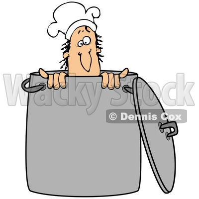 Clipart Illustration Of A Silly Male Caucasian Chef Wearing A Hat And