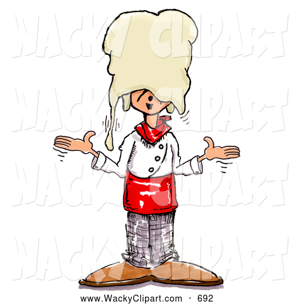 Clipart Of A Caucasian Silly Chef Shrugging After Accidentally