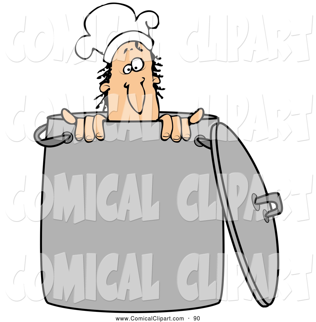 Comical Clip Art Of A Silly Male White Chef Wearing A Hat And Peeking