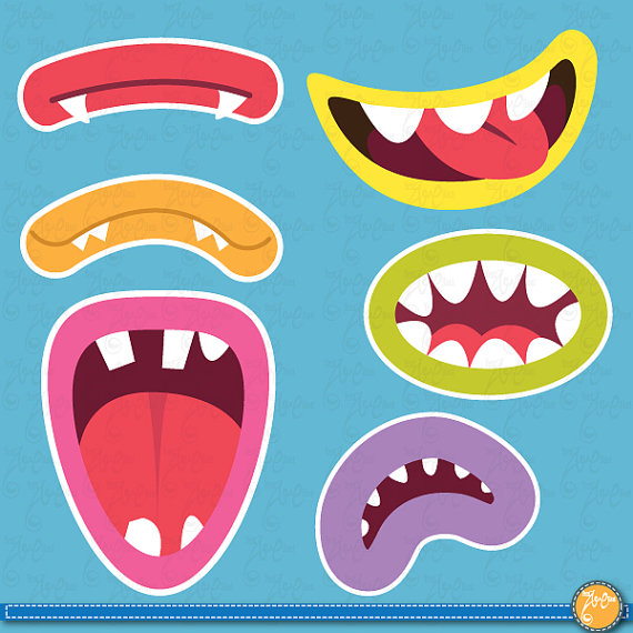 Cute Monsters Mouths Digital Clip Art Setmonster Grinphoto Booth