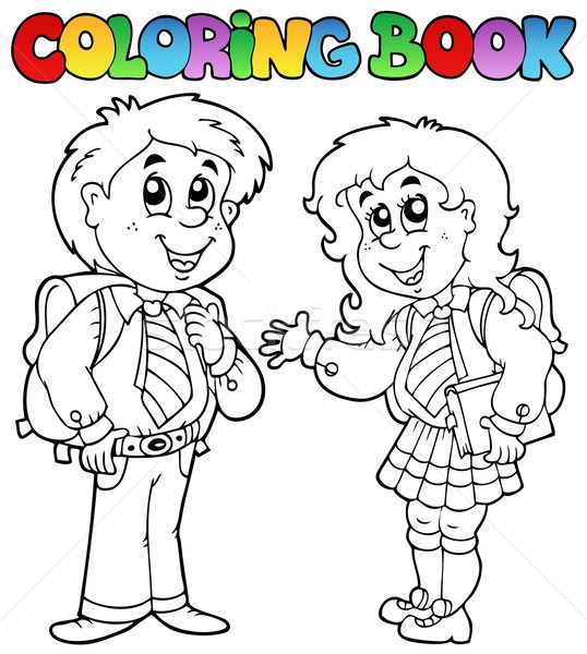 Foto Stock   Ilustraci N De Stock   Coloring Book With Two Students