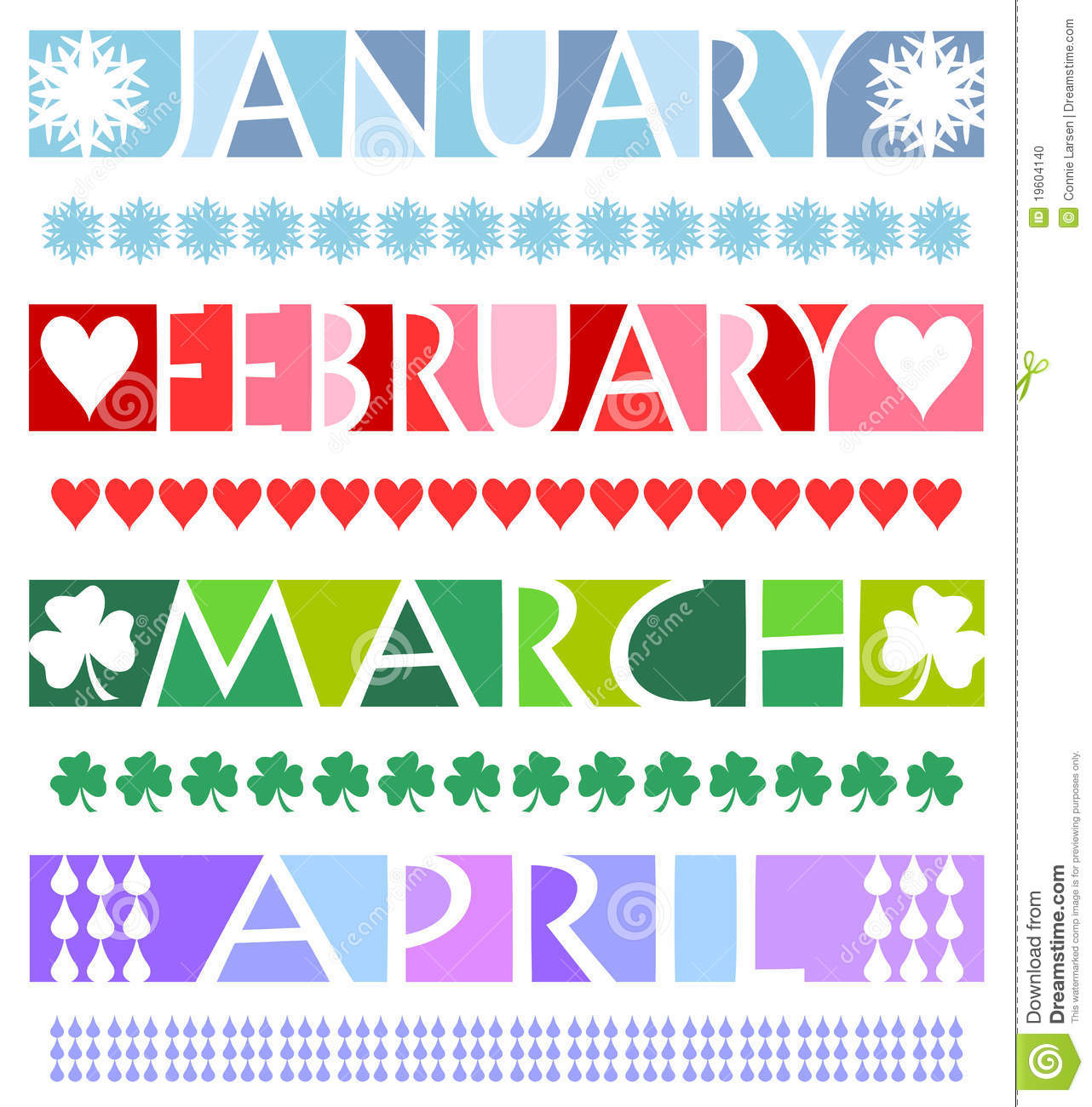 Matching Borders For The Months January February March And April