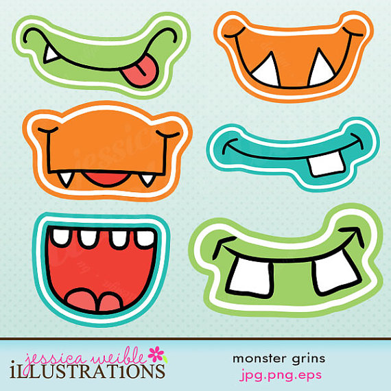 Monster Grins Cute Printable Birthday Party Favors   Printable Monster