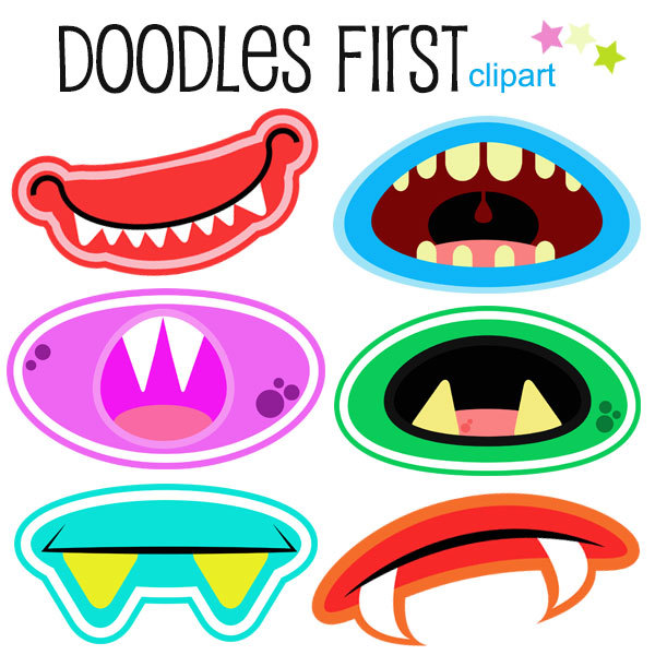 Monster Mouths Clipart Digital Clip Art For By Doodlesfirst