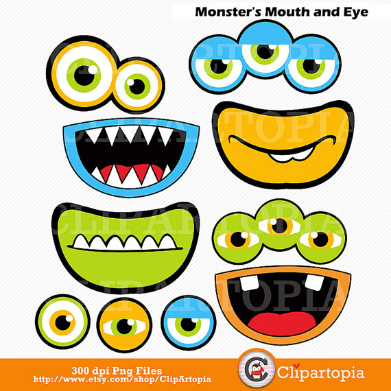 Monsters Mouth And Eyes Digital Clipart   Little Monster Party