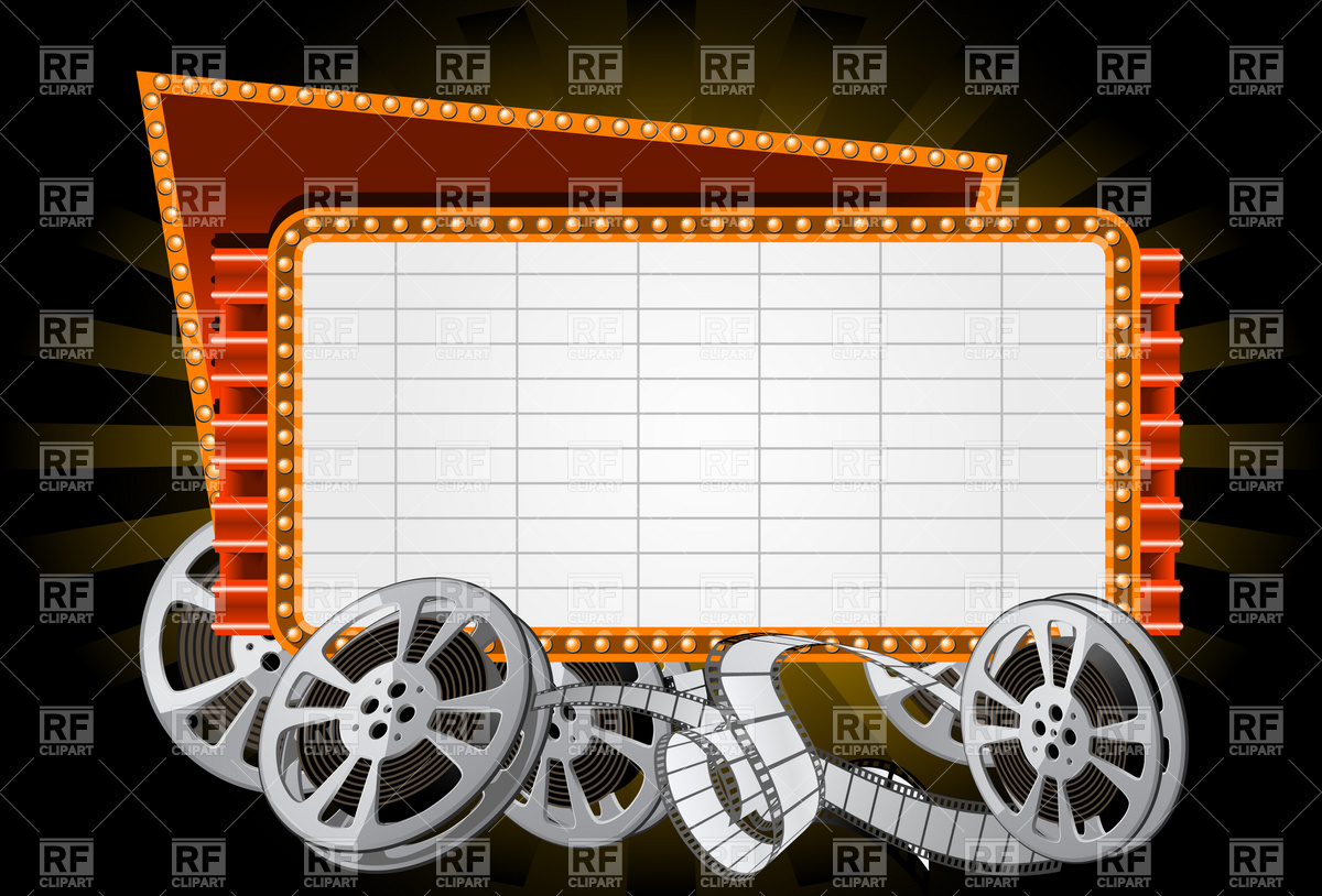 Movie Marquee With Film Reel Download Royalty Free Vector Clipart