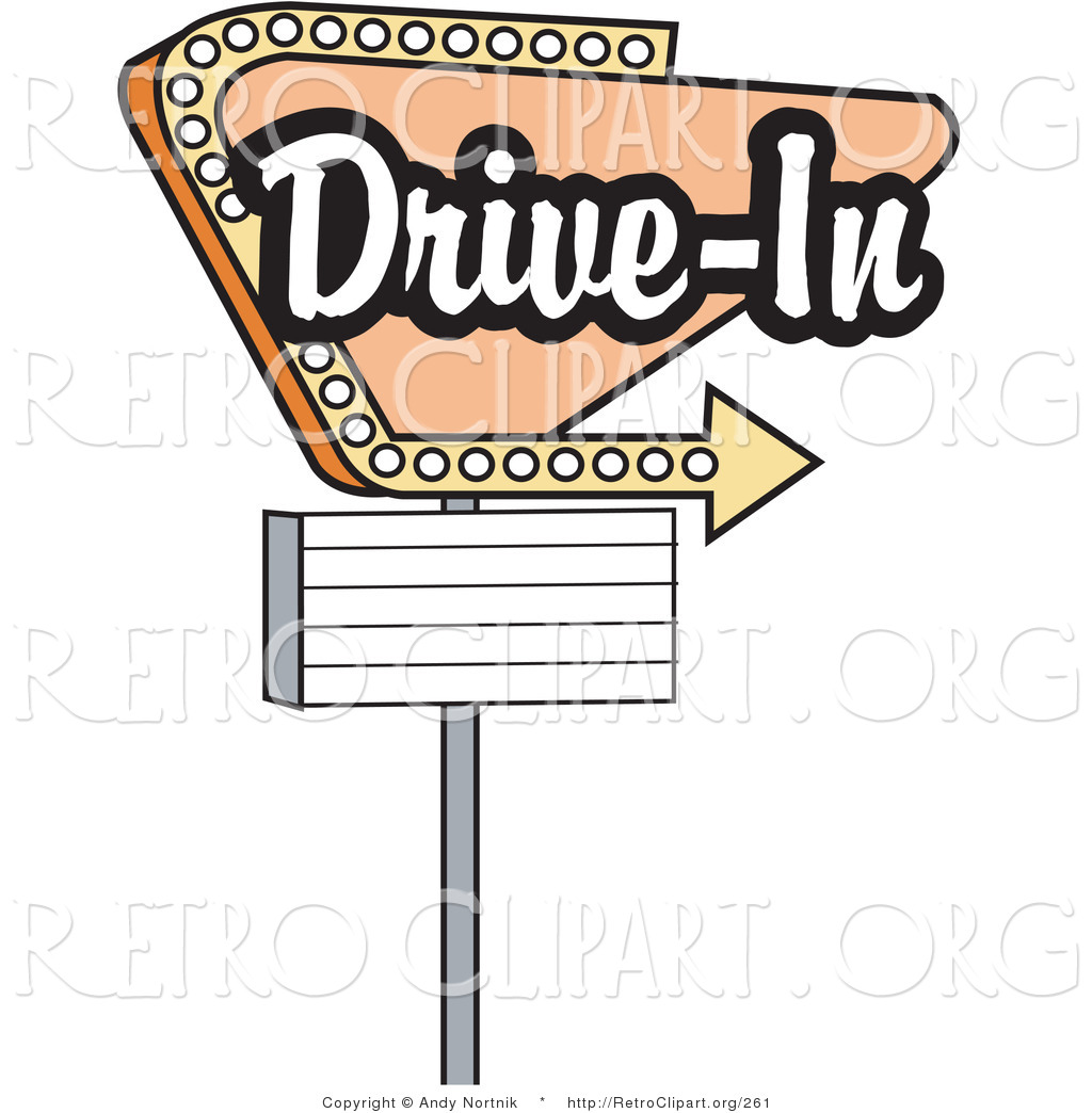 Retro Clipart Of A Vintage Beige Drive In Sign With An Arrow By Andy