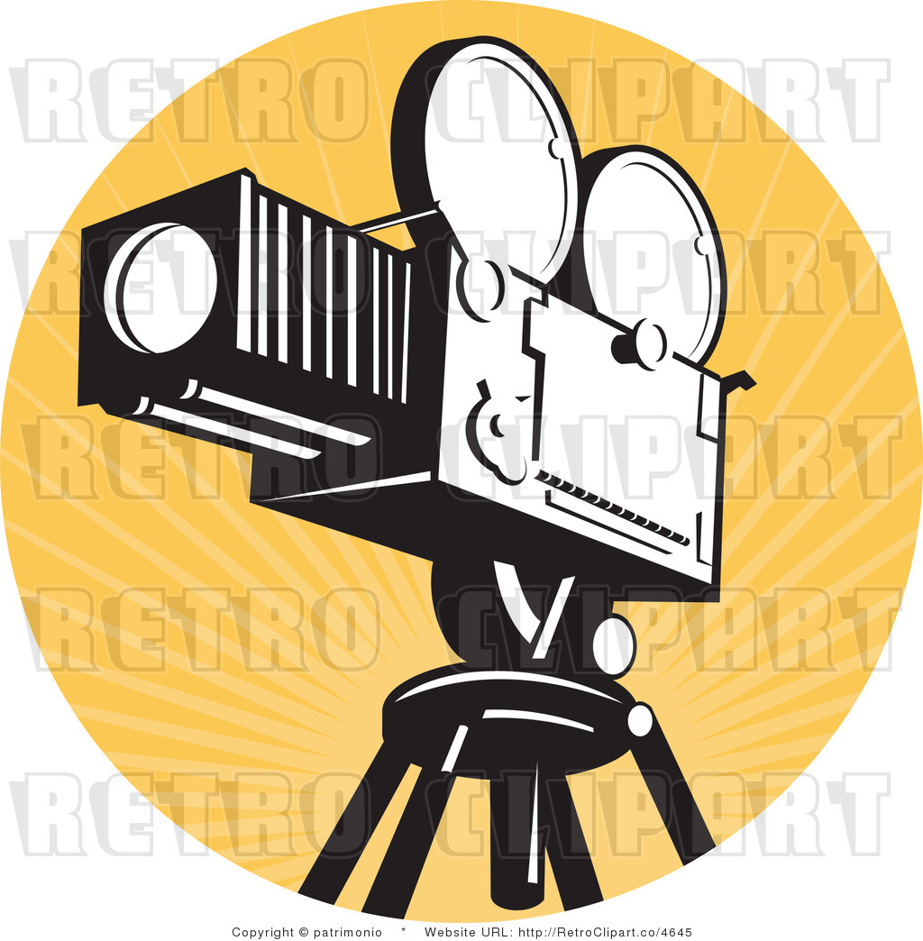 Royalty Free Retro Vector Clipart Of A Vintage Movie Film Camera And