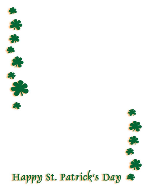 Shamrocks Top And Bottom Create A Frame Border Or Note Paper For St
