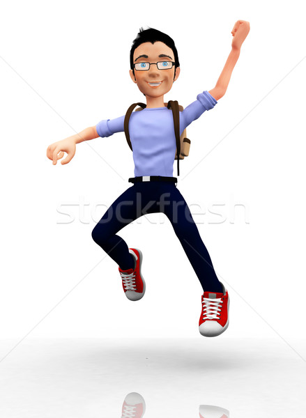 Stock Photo   Happy 3d Male Student Jumping With Arms Up   Isolated