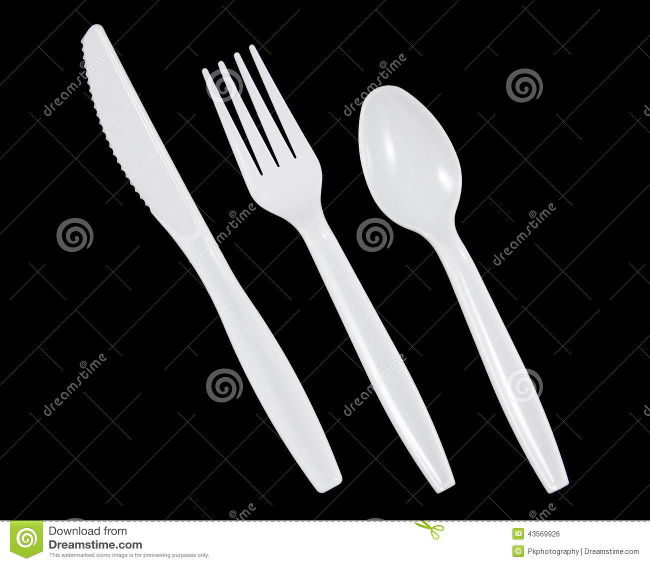 Stock Photo  White Plastic Knife Fork And Spoon On Black Background