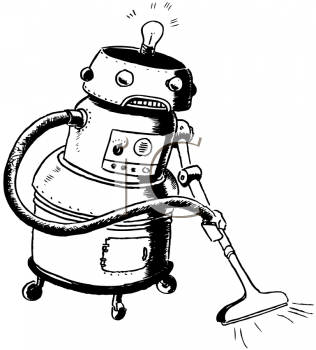 Vintage Cartoon Of A Robot Maid   Royalty Free Clip Art Picture