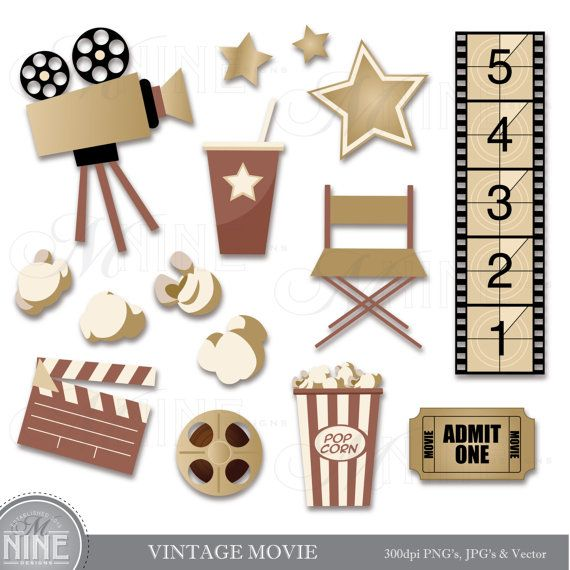 Vintage Movie Clip Art Digital Clipart Instant Download Cinema Thea