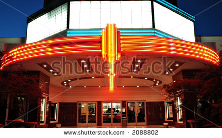 Vintage Movie Theater With Neon Lights In Sacramento California