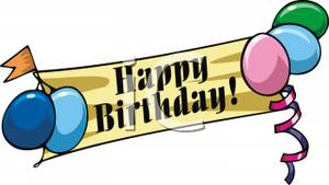 Balloons And A Happy Birthday Banner   Royalty Free Clipart Picture