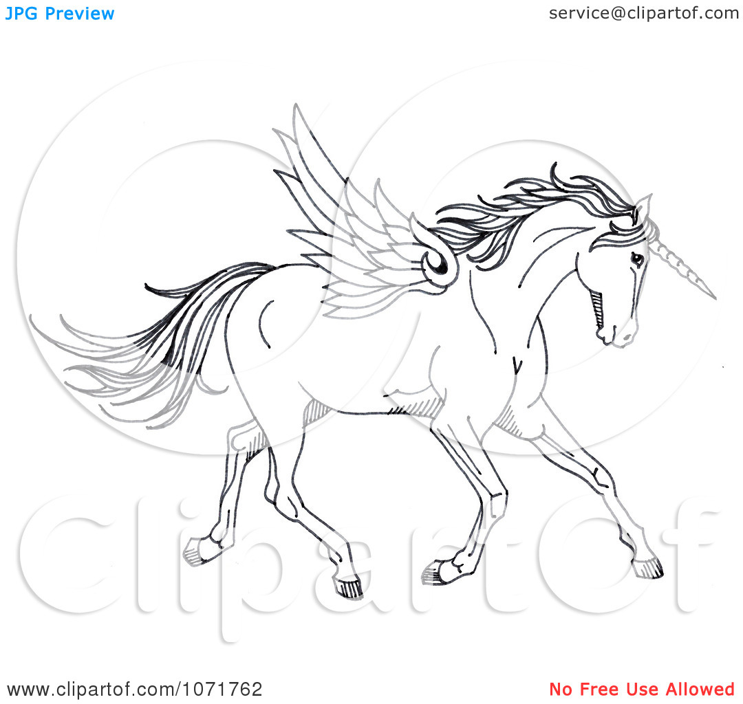 Unicorn black and white clipart clipart kid for Unicorn with wings coloring pages
