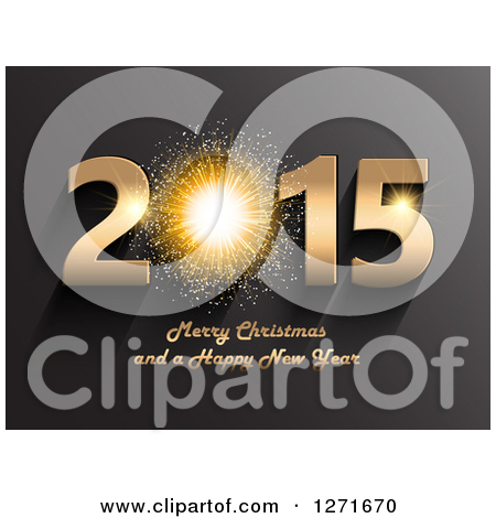 Clipart Of A 3d Firework In A Gold 2015 Merry Christmas And A Happy