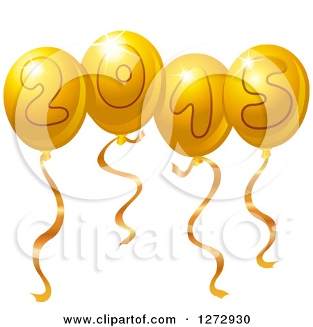 Clipart Of Gold New Year 2015 Party Balloons   Royalty Free Vector