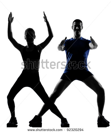 Couple Woman Man Exercising Workout Fitness Aerobics Posture In