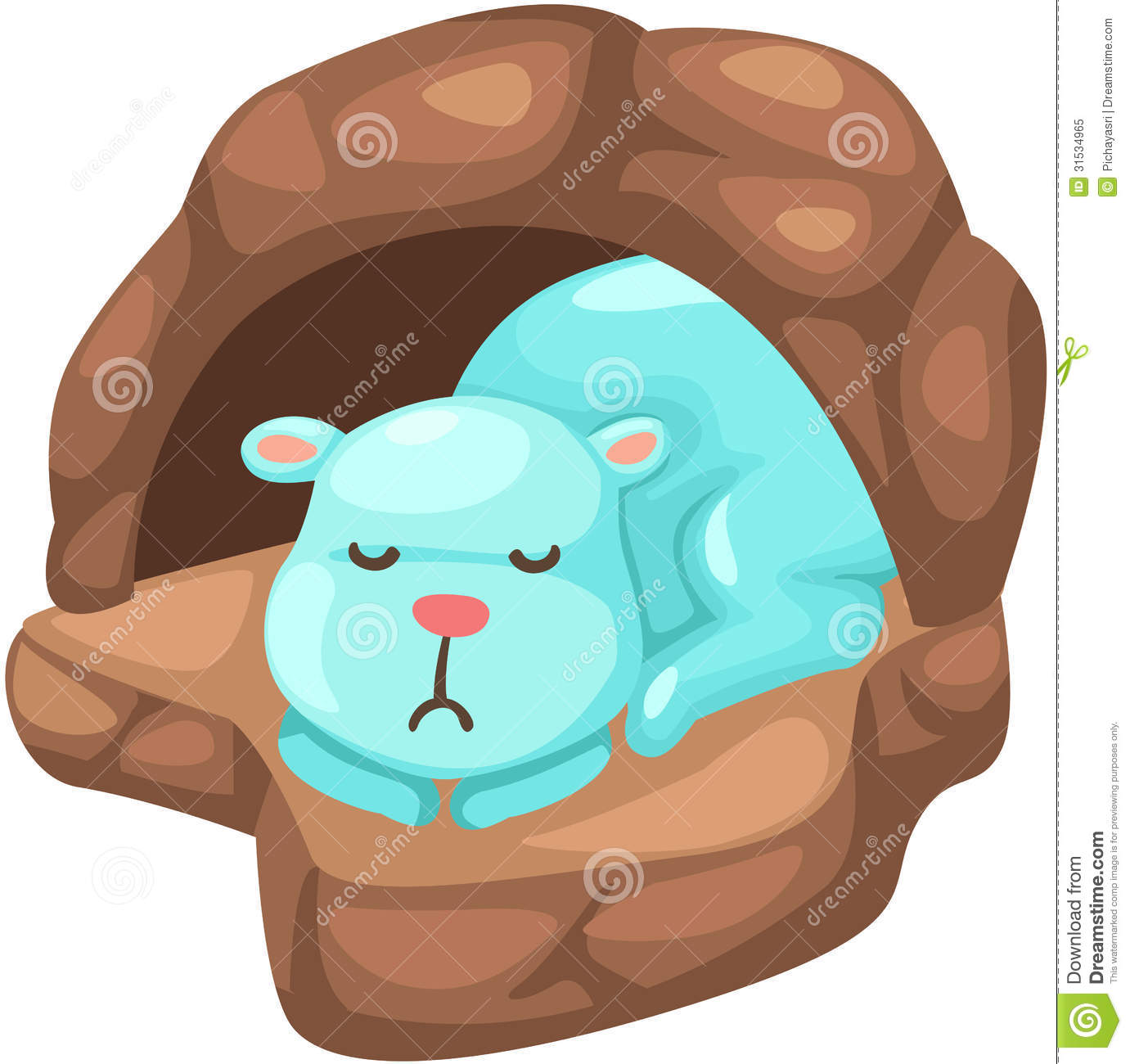 Cute Bear Sleeping In The Cave Royalty Free Stock Photo   Image