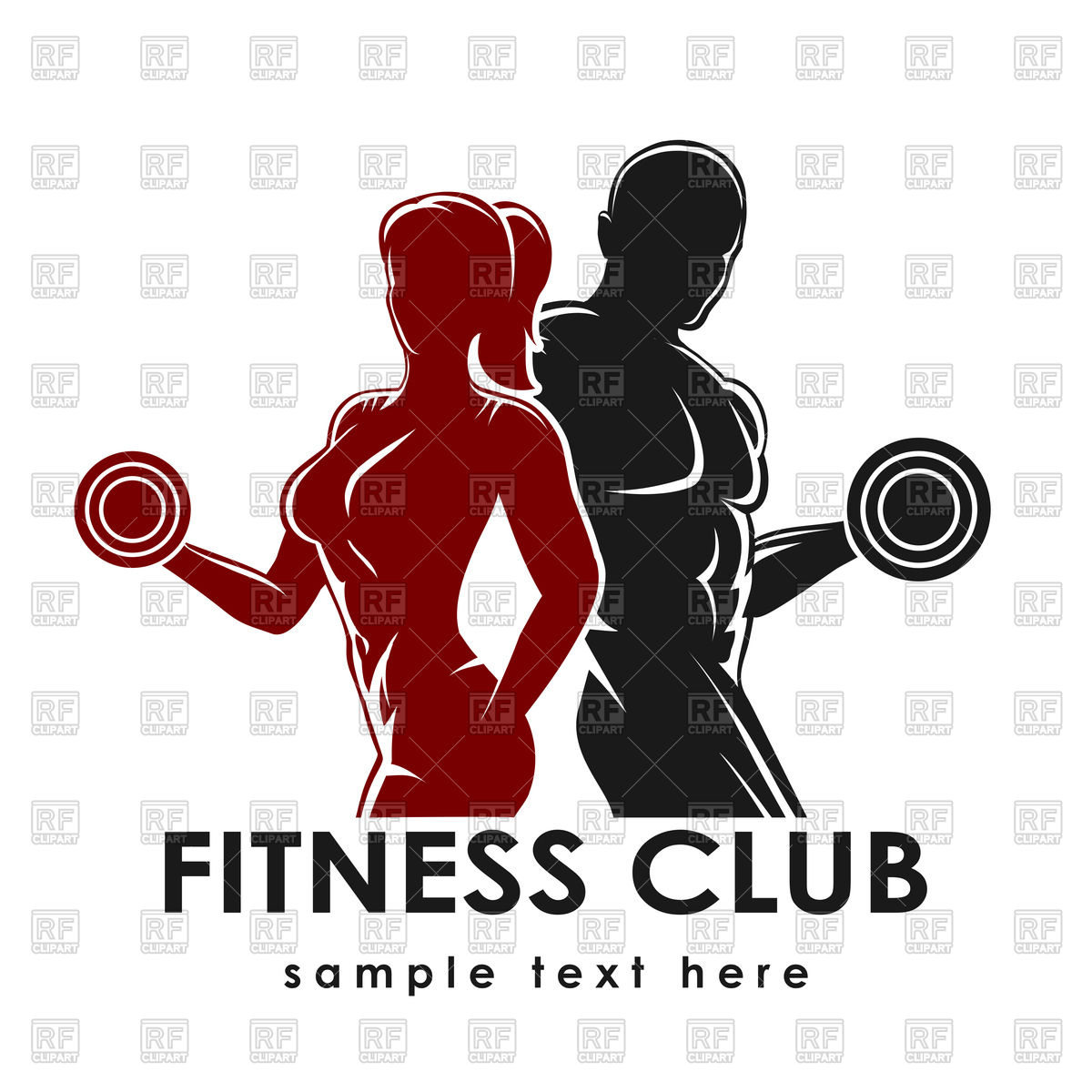 Fitness Club Emblem With Strong Woman And Man 76260 Download Royalty