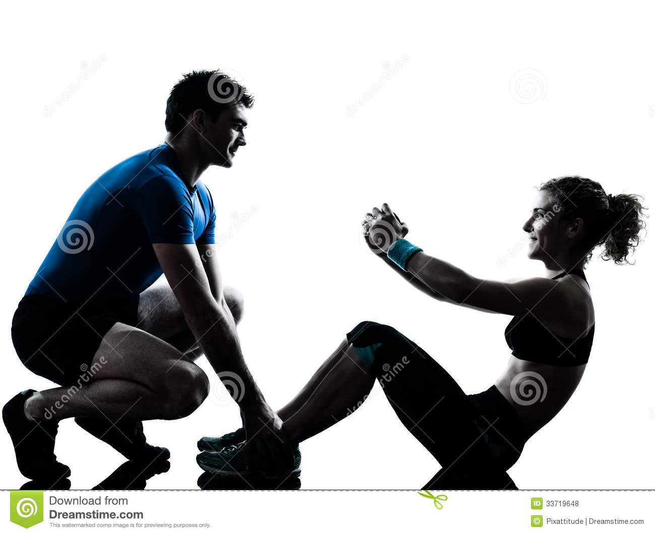 Fitness Silhouette Man And Woman Man Woman Exercising Abdominal