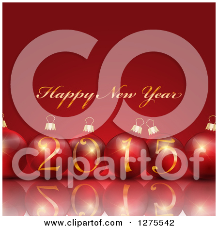 Gold Happy New Year 2015 Greeting With 3d Red Baubles And A     By Kj