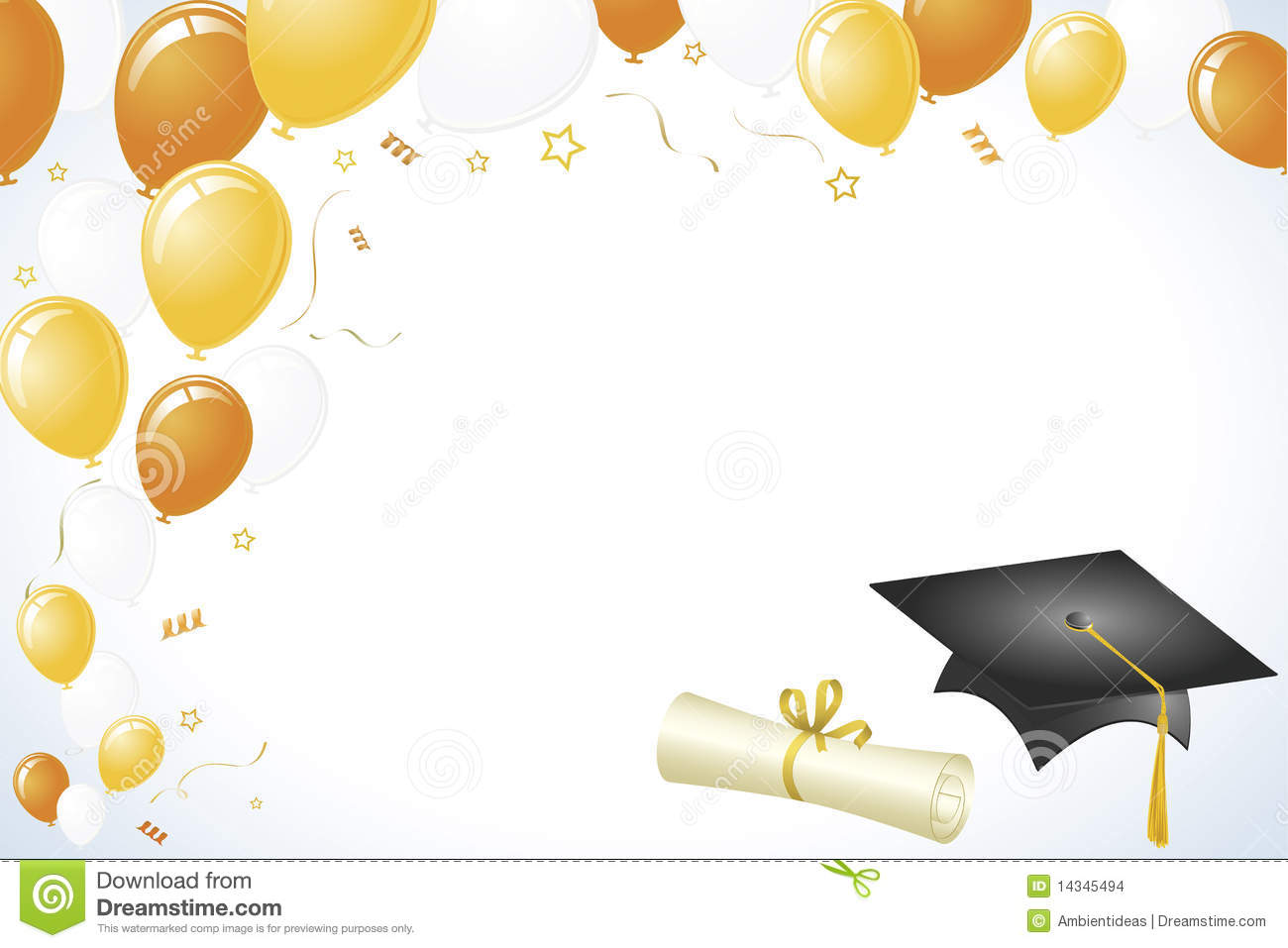 Graduation Design With Gold And Yellow Balloons Stock Images   Image