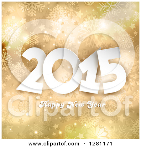 Happy New Year 2015 Greeting Over Gold Stars And Snowflakes By Kj