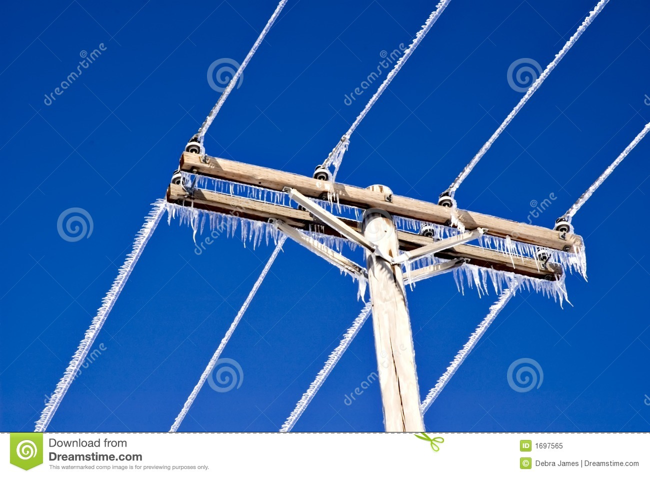 Icicles On Telephone Wires And Pole Royalty Free Stock Photo   Image