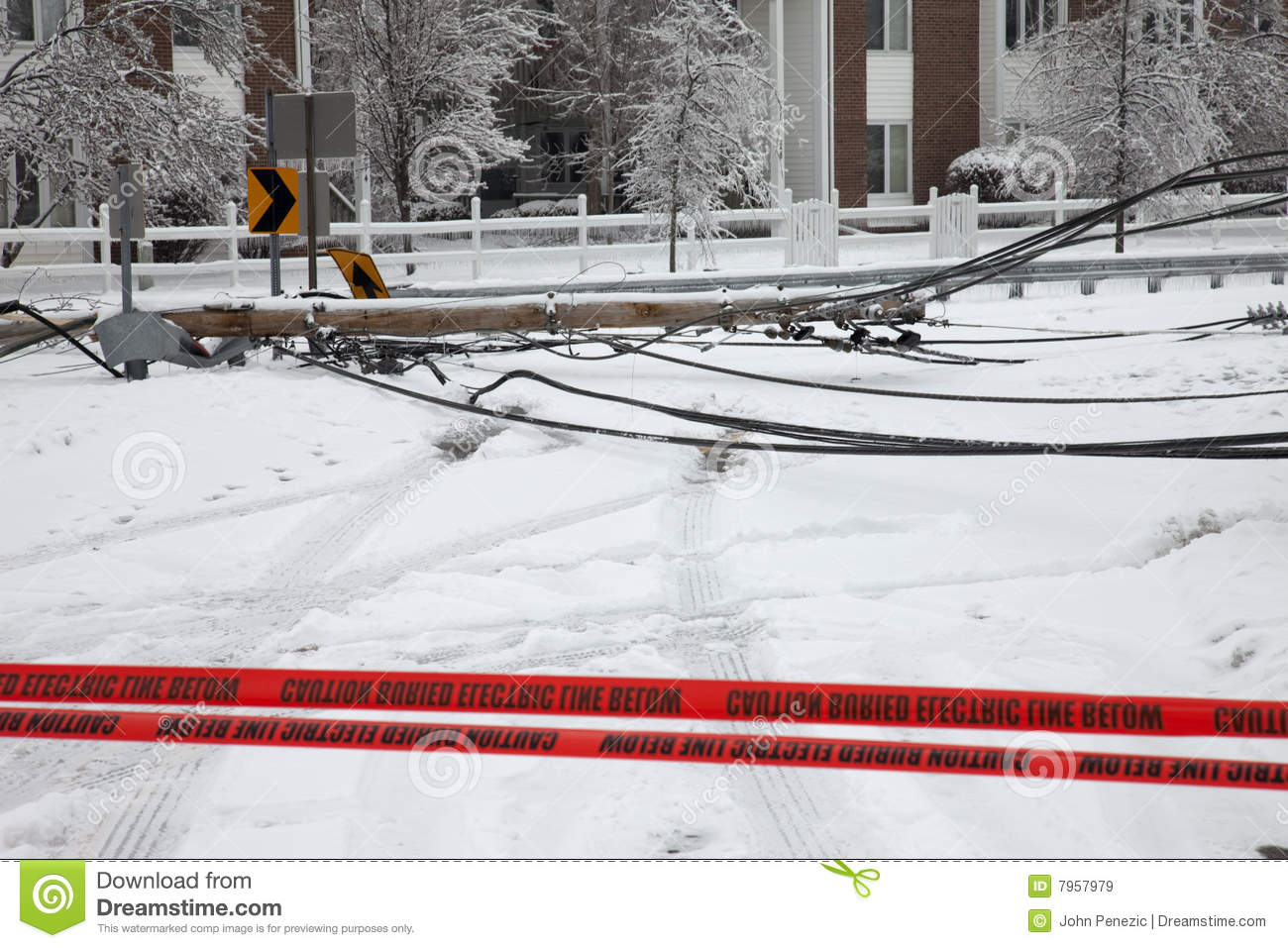 Louisville   28 January  Electric Utility Pole Brought Down By Weight