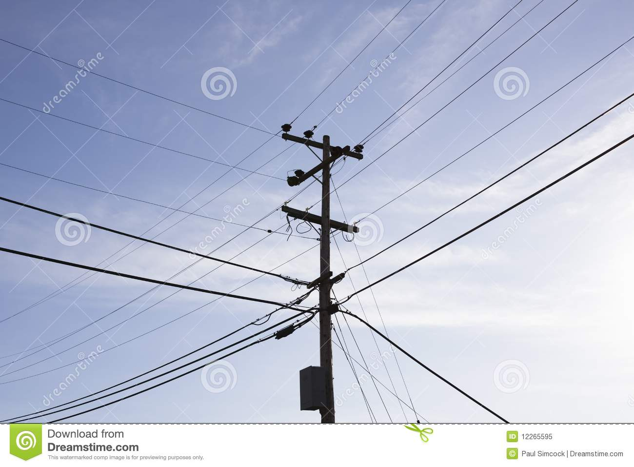 Power Pole And Wires Royalty Free Stock Photo   Image  12265595