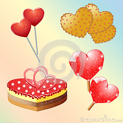 Set Of Sweets For Valentine S Day  Vector Illustration