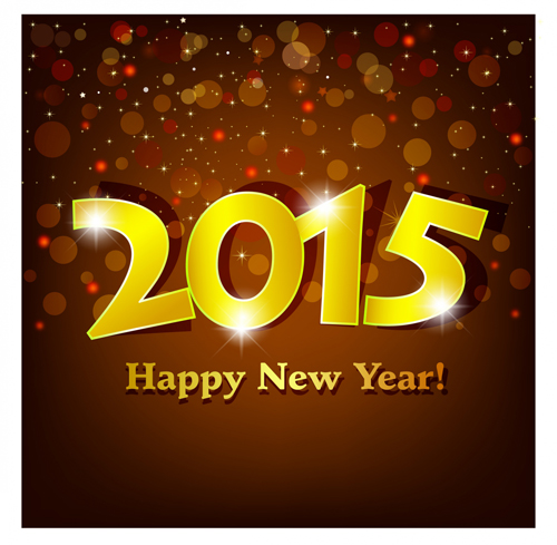 Shiny Golden 2015 Happy New Year Background   Vector Background Free