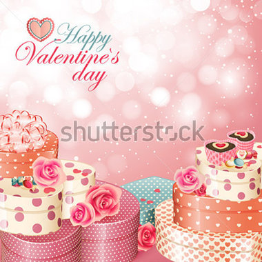 Valentine S Day Card With Heart Shaped Gifts Sweets And Roses