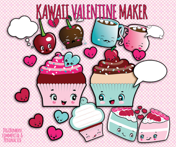 Valentine S Day Clipart   Commercial Use   Kawaii Clip Art   Clipart