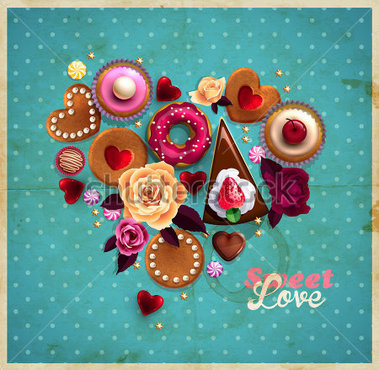 Valentine S Day Vintage Background With Heart Made Of Sweets Cupcakes