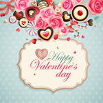 Valentine S Day Vintage Card With Sweets And Place For Text 93885415