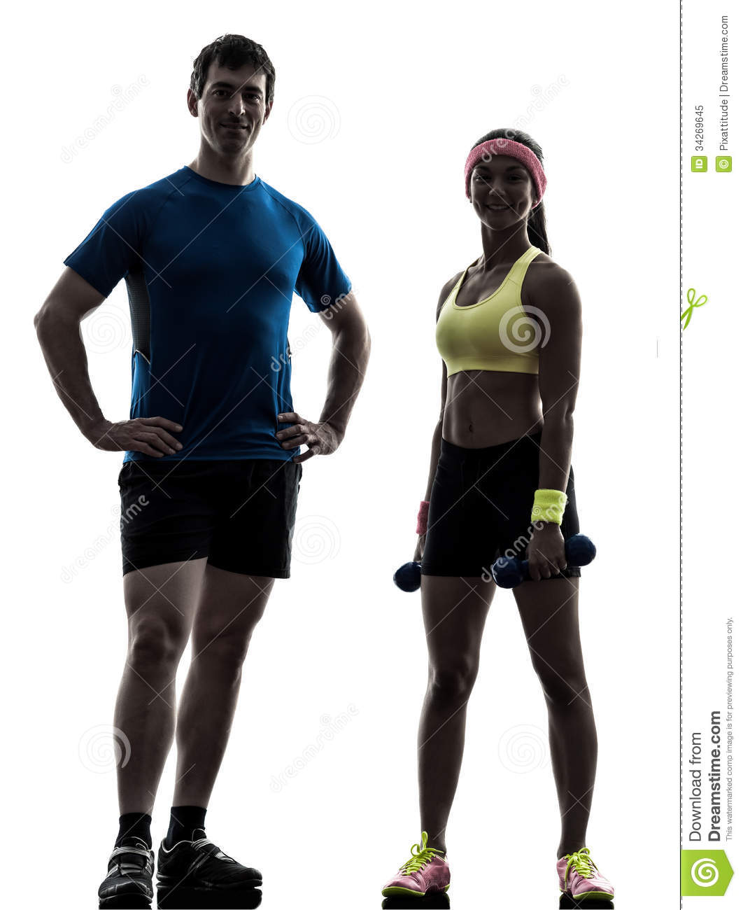 Woman Exercising Fitness Workout With Man Coach Posing Royalty Free