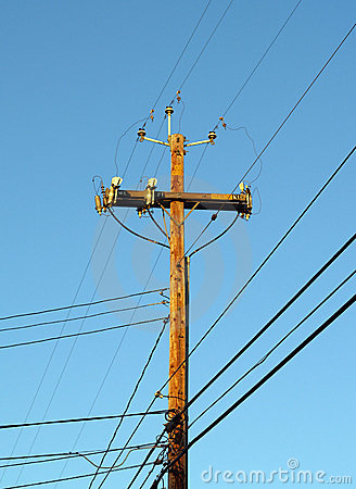 Wooden Telephone Pole Power Pole Against Blue Sky Stock Images   Image