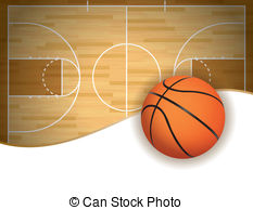 Basketball Court And Ball Background   An Illustration Of A