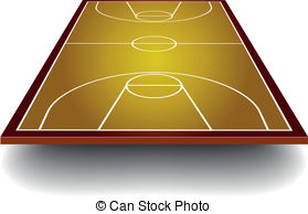 Basketball Court With Perspective   Detailed Illustration Of