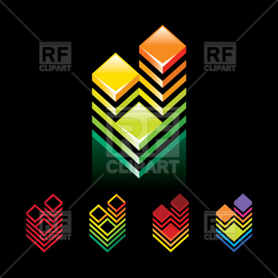 Building Towers   Emblem Element Download Royalty Free Vector Clipart