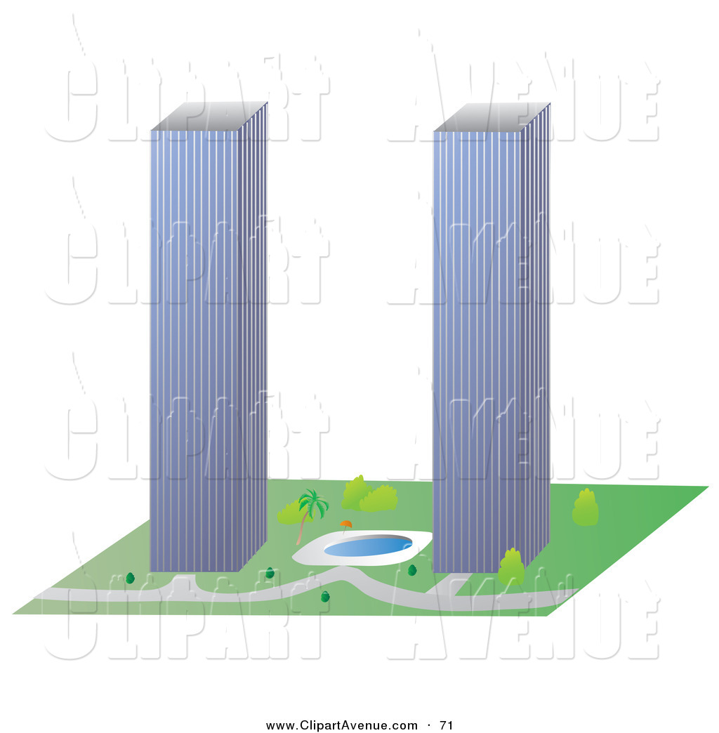 Clipart Of A Couple Of Tall Skyscrapers Similar To The Twin Towers