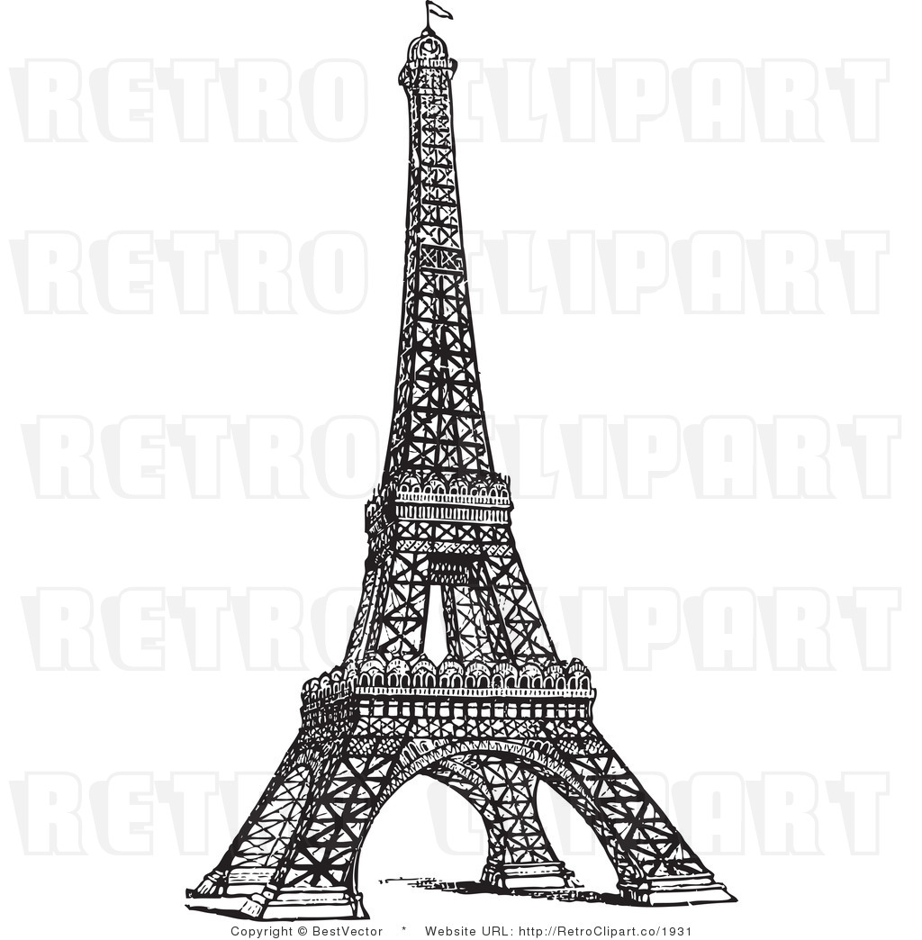 Royalty Free Black And White Retro Vector Clip Art Of A Eiffel Tower