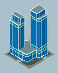 Towers And Park Isometric Modern Building Isometric Modern Building