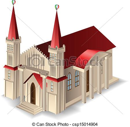 Vector   Old Church Building   Stock Illustration Royalty Free